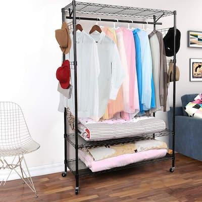 74-in. Rolling 2-tier Closet Organizer / Storage Rack