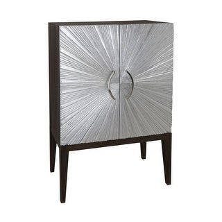 """Dimond Home 7011-1486 Silver Starburst 54 """" Tall Mahogany Bar Cabinet with Stem glass Rack - silver leaf - N/A"""