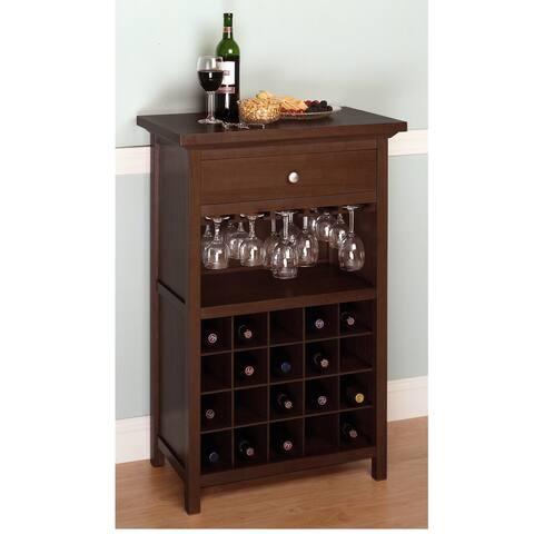 "40.25"" Warm Walnut Rectangular Wine Cabinet"