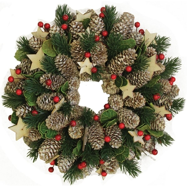 """10"""" Decorative Pine Cone with Berries and Stars Christmas Wreath - Unlit"""