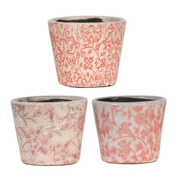 """Set of 3 Red and White Floral Motifs Style Planters 5.5"""" - N/A"""