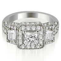 1.75 cttw. 14K White Gold 3-Stone Princess & Trapezoid Diamond Engagement Ring