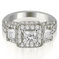 2.00 cttw. 14K White Gold 3-Stone Princess & Trapezoid Diamond Engagement Ring