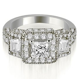 2.25 cttw. 14K White Gold 3-Stone Princess & Trapezoid Diamond Engagement Ring