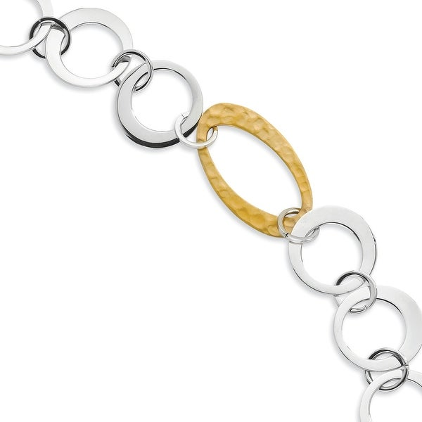Chisel Stainless Steel Gold IP Plated Circles Link Bracelet