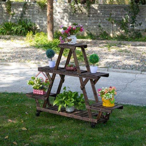 Outsunny 56'' x 14'' x 41'' 4 Tier Wooden Plant Stand with Removable Wheels, Large Display Capacity & Wood Build