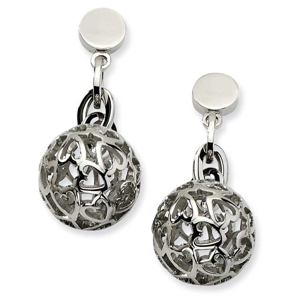 Chisel Stainless Steel Heart Cutouts Puffed Circle Post Dangle Earrings