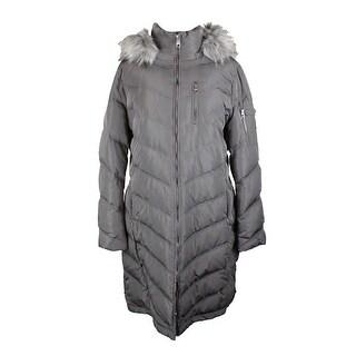 Calvin Klein Grey Faux-Fur-Trim Chevron Puffer Coat XL