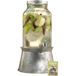 Palais Glassware Mason Jar Beverage Dispenser - Traditional Tin Screw Off Lid -1.5 Gallon Capacity With Ice Bucket