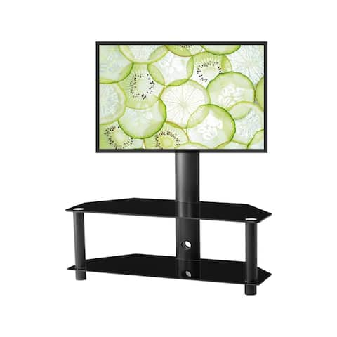 Multi-Function Rotatable Floor TV Stand for Most 65 inches, LCD and Plasma TV Bracket For Multiple Media Devices Black