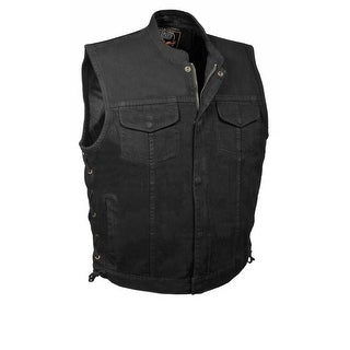 Mens Denim Hidden Zipper Side Lace MC Vest (More options available)