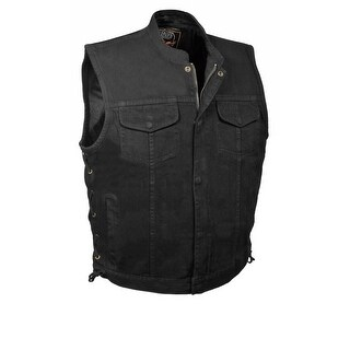 Mens Denim Hidden Zipper Side Lace MC Vest
