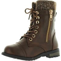 Link Mango-31 Kids Round Toe Military Lace Up Knit Ankle Cuff Low Heel Combat Boots - Brown