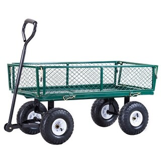Gymax Heavy Duty Lawn Garden Utility Cart Wagon Wheelbarrow Steel Trailer