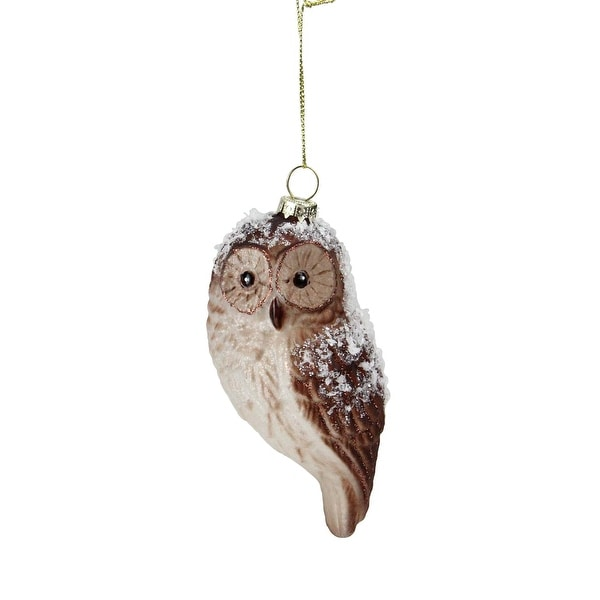 "4.5"" Snowy Glitter Owl Glass Bird Christmas Ornament"