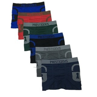 Men's 6 Pack Duo Lock Print Seamless Boxer Briefs - One size