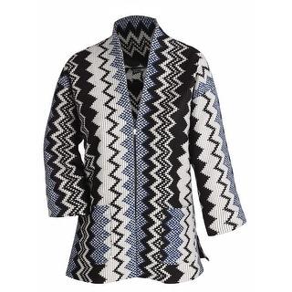 Women's Fashion Jacket - Corded Zigzag 3/4 Sleeve Zip Front Blazer