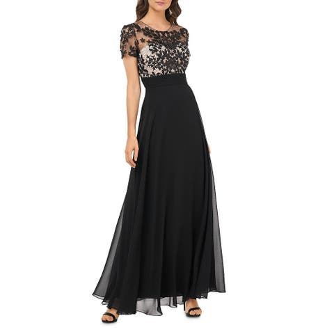 JS Collections Womens Formal Dress Floral Lace - Black