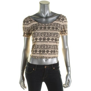 Material Girl Womens Juniors Crop Top Aztec Print Short Sleeves - L