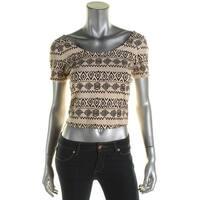 Material Girl Womens Juniors Crop Top Aztec Print Short Sleeves - L
