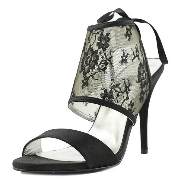 Caparros Kate Women Open-Toe Canvas Black Heels