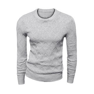 Men's Crew Neck Long Sleeves Textured Sweater Light Gray S