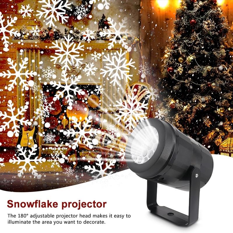 Outdoor Christmas Lights LED Snow Projector Light Fairy Snowfall Lamp