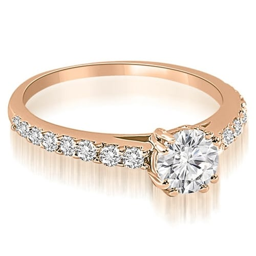 1.30 cttw. 14K Rose Gold Cathedral Round Cut Diamond Engagement Ring