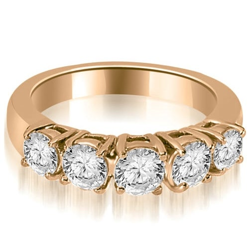0.70 cttw. 14K Rose Gold Prong Set Round Cut Diamond Wedding Band