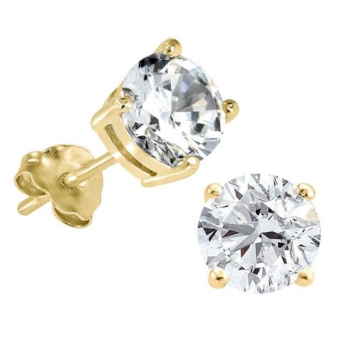 Prism Jewel Round 5MM Cubic Zirconia Silver Stud Earring