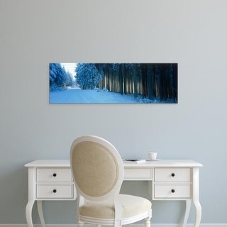 Easy Art Prints Panoramic Images's 'Germany, Hochwald, road, winter' Premium Canvas Art