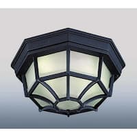 Volume Lighting V8857 1 Light Flush Mount Outdoor Ceiling Fixture with Frost Gla