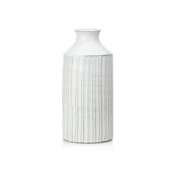 "15.75"" White Bardon Terracotta Small Bud Vase - N/A"