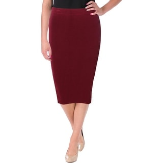 Olivaceous Womens Rib Knit Pull On Pencil Skirt
