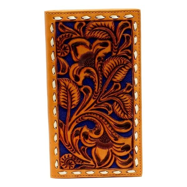 Nocona Western Wallet Mens Rodeo Embossed Lacing Tan Blue - One size