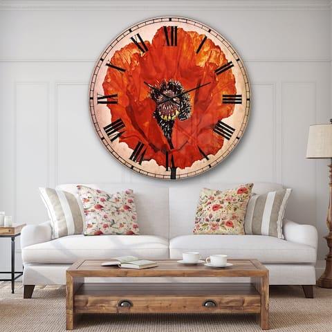 Designart 'Red Poppy Blossom Close Up' Floral Oversized Wall CLock