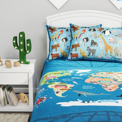 Hastings Home World Map Comforter Set, Twin XL