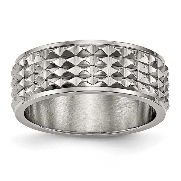 Titanium Polished Studded Ring (8 mm)