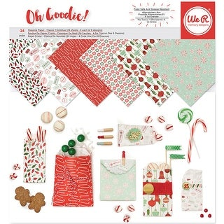 """We R Memory Keepers Glassine Paper Pack 12""""X12"""" 24/Pkg-Holiday Classics, 6 Designs/4 Each"""