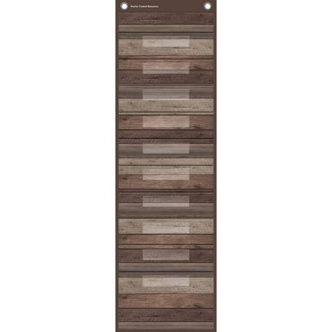 "Dark Wood 10 Pocket File Storage Pocket Chart, 14"" x 58"" - One Size"