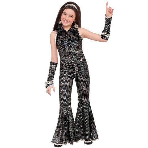 Forum Novelties Disco Jumpsuit Child Costume (Small) - Black/Silver - Small