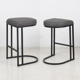 (Set of 2) Dome Art Deco Leather & Metal Counter Stool (Grey)