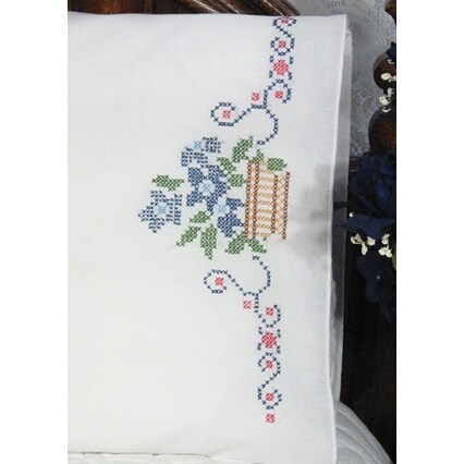 "Stamped Perle Edge Pillowcases 30""X20"" 2/Pkg-Flowers In Basket"