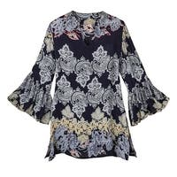 Women's Tunic Top - Lissome Paisley Ruffle Bell Sleeves Blouse