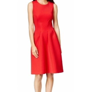 Calvin Klein NEW Red Women's Size 8 Textured Knit Pleated Dress