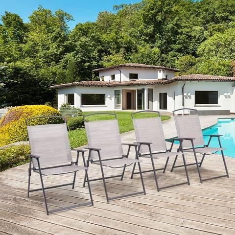 Pellebant 4PCS Outdoor Modern Patio Dining Folding Chairs - N/A