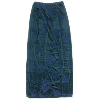 DBF Body Fashions Womens Velvet Embroidered Maxi Skirt