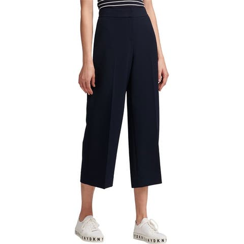 Dkny Womens Wide Leg Casual Cropped Pants