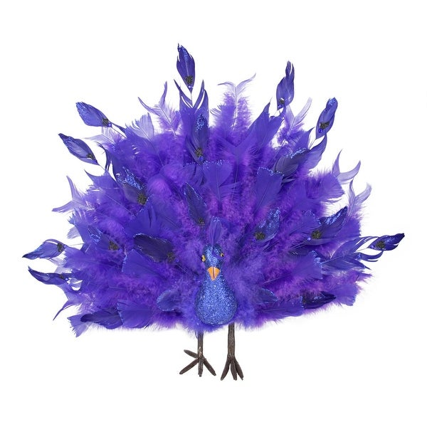 "17"" Colorful Purple and Blue Regal Peacock Bird with Open Tail Feathers Christmas Decoration"