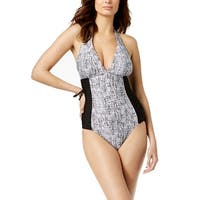 Calvin Klein Women's Pleated Tummy-Control One-Piece Swimsuit (6) - Black/ White